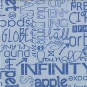 Moda Sphere by Zen Chic - 3169 - Bue Text on Grey Background - 1543 19 - Cotton Fabric